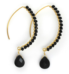 Gold-plated Sterling Silver Crystal Drop Beaded Elliptical Hook Earrings, Black