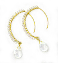 Gold-plated Sterling Silver Crystal Drop Beaded Elliptical Hook Earrings, Clear