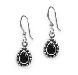 Sterling Silver Haylee Teardrop Stone Drop Earrings, Onyx