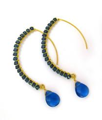 Gold-plated Sterling Silver Crystal Drop Beaded Elliptical Hook Earrings, Mid...