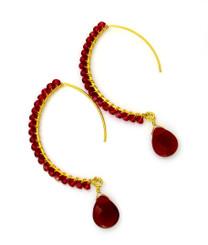 Gold-plated Sterling Silver Crystal Drop Beaded Elliptical Hook Earrings, Red