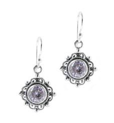 Sterling Silver Jacqui Round Crystal Filigree Drop Earrings, Lavender