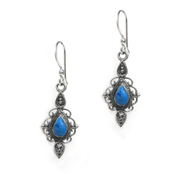 Sterling Silver Kaia Teardrop Stone Filigree Drop Earrings, Denim Lapis