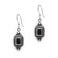 Sterling Silver Larissa Rectangle Stone Drop Earrings, Onyx