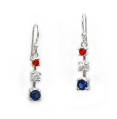 Sterling Silver America the Beautiful Three Stones Red, White, and Blue Earrings
