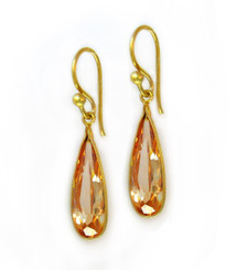 Gold Plated Sterling Silver Sparkling Elegant Crystal Drop Earrings, Champagne