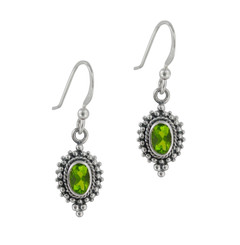 Sterling Silver Madlyn Oval Crystal Bead Frame Drop Earrings, Spring Green