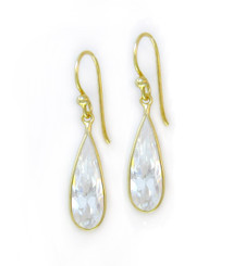 Gold Plated Sterling Silver Sparkling Elegant Crystal Drop Earrings, Clear