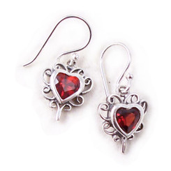 Sterling Silver Makyla Heart Crystal Filigree Drop Earrings, Red