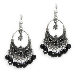 "Sterling Silver Bohemian ""Arya"" Stone Inlay and Stones Cluster Earrings, Faceted Onyx"