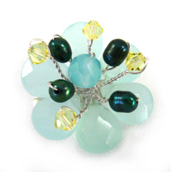 Sterling Silver Flower Crystal Cultured Pearl Wire Wrapped Brooch Pin, Blue