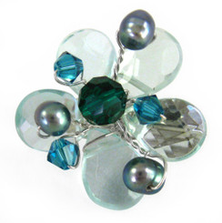 Sterling Silver Flower Crystal Cultured Pearl Wire Wrapped Brooch Pin, Aqua