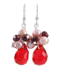 "Sterling Silver ""Candice"" Cluster & Crystal Drop Earrings, Red"
