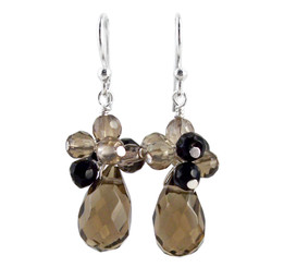 "Sterling Silver ""Candice"" Cluster & Crystal Drop Earrings, Smoke"