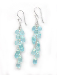 Sterling Silver Regen Teardrop Crystals Cascade Drop Earrings, Aqua