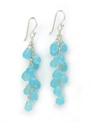Sterling Silver Regen Teardrop Crystals Cascade Drop Earrings, Ocean Blue