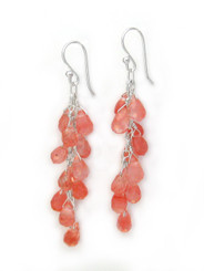 Sterling Silver Regen Teardrop Crystals Cascade Drop Earrings, Cherry Quartz