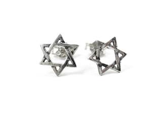 Sterling Silver Jewish Star of David Stud Post Earrings
