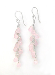 Sterling Silver Regen Teardrop Crystals Cascade Drop Earrings, Pink