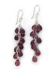 Sterling Silver Regen Teardrop Crystals Cascade Drop Earrings, Purple