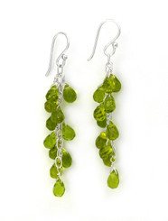 Sterling Silver Regen Teardrop Crystals Cascade Drop Earrings, Spring Green