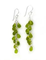 Sterling Silver Regen Teardrop Crystals Cascade Drop Earrings, Spring Green