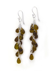 Sterling Silver Regen Teardrop Crystals Cascade Drop Earrings, Smoke