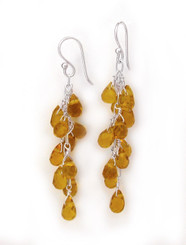 Sterling Silver Regen Teardrop Crystals Cascade Drop Earrings, Yellow