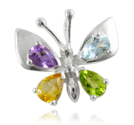 Sterling Silver Butterfly Colorful Crystals Wing Brooch Pin