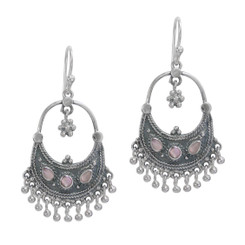 """Sterling Silver Bohemian """"Arya"""" Shell Inlay and Silver Balls Drop Earrings, Silver"""