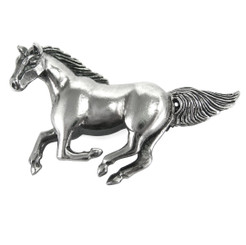 Sterling Silver Galloping Horse Brooch Pin