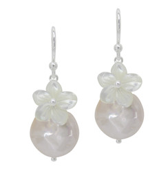 "Sterling Silver ""Bahama"" Cultured Coin Pearl & Carved Mother-of-pearl Flower Earrings, Light Pink"
