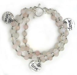 "Three Strand Rose Quartz ""LOVE"" Charm Sterling Silver Bracelet"