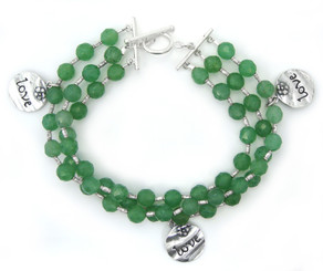 "Three Strand Green Quartz ""LOVE"" Charm Sterling Silver Bracelet"