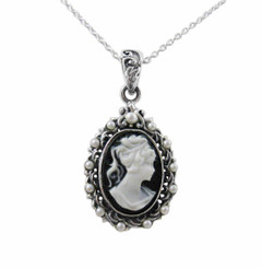 Sterling Silver Cameo and Simulated Pearl Halo Pendant Necklace, Black