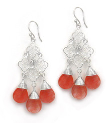 Sterling Silver Filigree Clover Link Three Crystals Chandelier Drop Earrings, Cherry Quartz