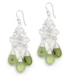 Sterling Silver Filigree Clover Link Three Stones Chandelier Drop Earrings, Prehnite