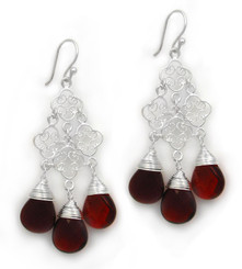 Sterling Silver Filigree Clover Link Three Crystals Chandelier Drop Earrings, Red