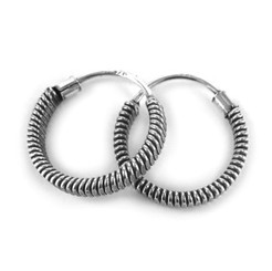 Sterling Silver Bali Style Wire Wrap 12mm Hoop Earrings