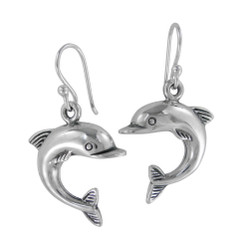 Sterling Silver Jumping Dolphin Drop Earrings