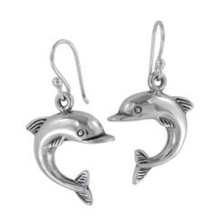 Sterling Silver Jumping Dolphin Drop Earrings