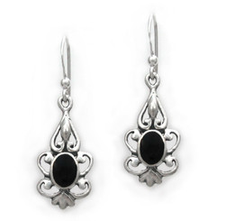 Sterling Silver Oval Stone Filigree Corine Drop Earrings, Onyx