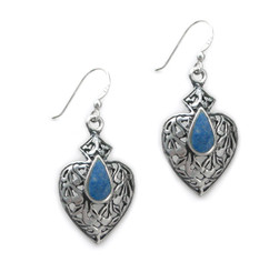 Sterling Silver Teardrop Stone Filigree Aurora Drop Earrings, Denim Lapis