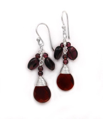 "Sterling Silver Gemstone and Crystals ""Venessa"" Drop Earrings, Garnet"