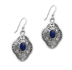 Sterling Silver Oval Stone Filigree Chantia Drop Earrings, Onyx