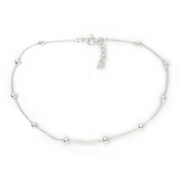 Sterling Silver Balls Station on Chain Anklet Adjustable 9-10 Inch Long