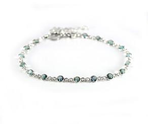 Sterling Silver Bezel Round Crystals Link Bracelet, Aqua