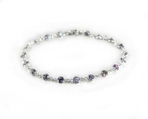 Sterling Silver Bezel Round Crystals Link Bracelet, Lavender