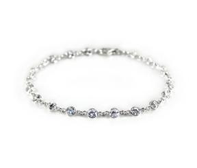 Sterling Silver Bezel Round Crystals Link Bracelet, Clear