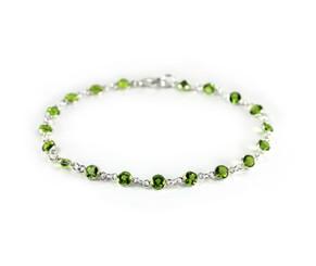 Sterling Silver Bezel Round Crystals Link Bracelet, Spring Green